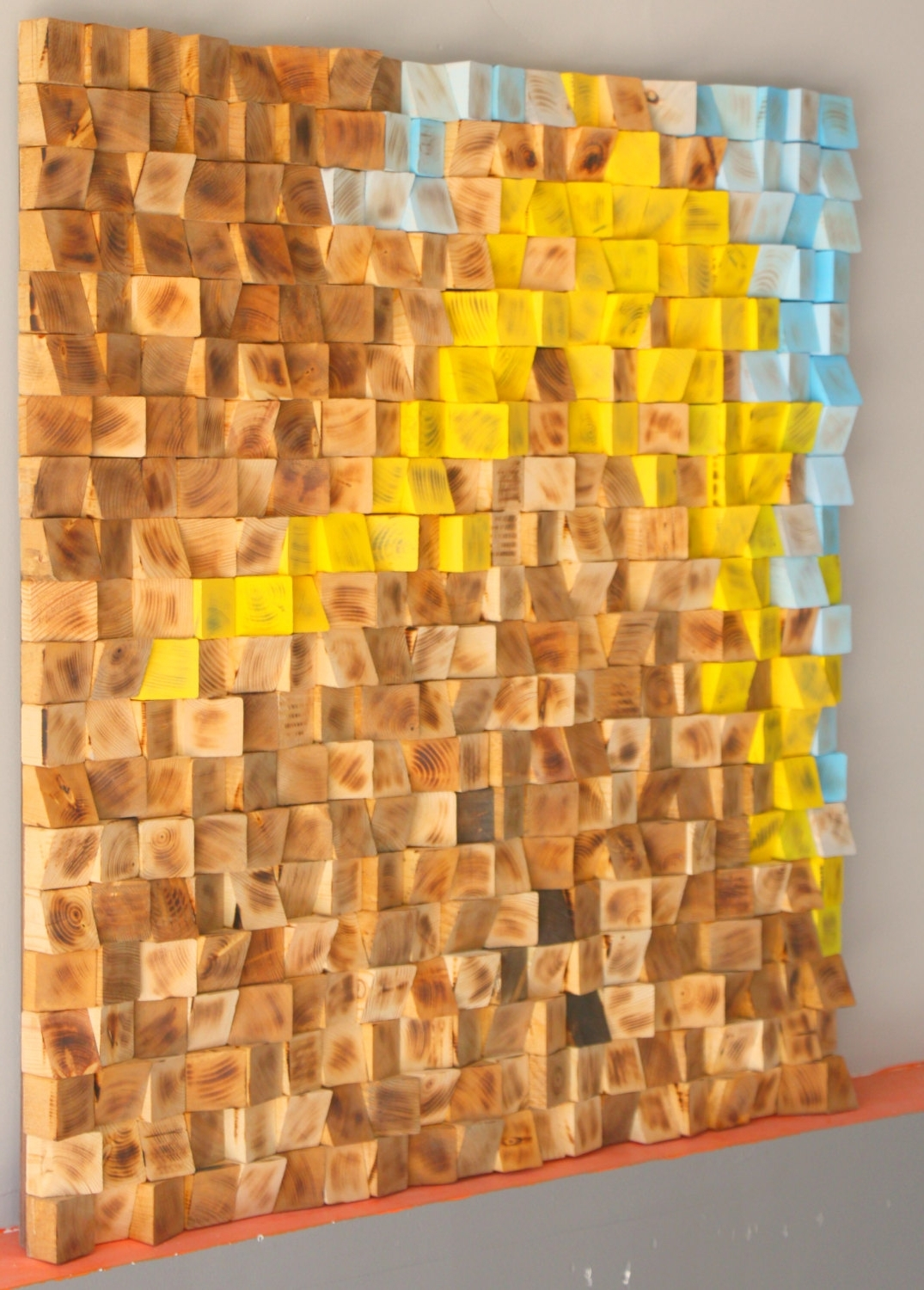 3d Wall Art Etsy Inside Popular Reclaimed Wood Wall Art, Wood Mosaic, Geometric Art, Wood Wall Art (View 6 of 15)