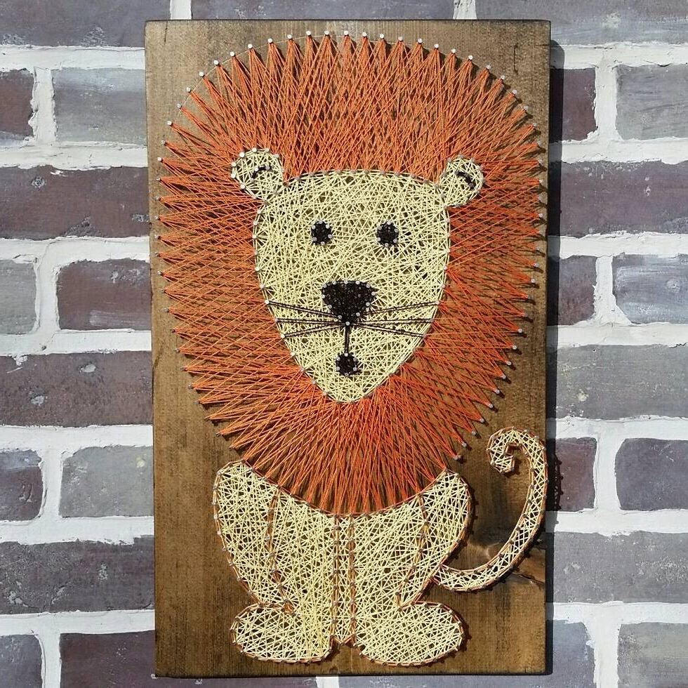 3d Wall Art Etsy Intended For Well Known String Art Lion Lion Nursery Art Lion Sign Custom Made Wood (View 8 of 15)