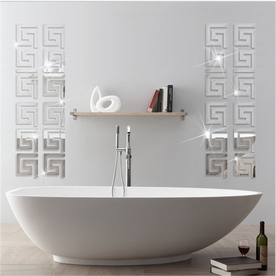 3D Wall Art For Bathroom For Famous Acrylic Mirror Wall Stickers Geometric Greek Key Pattern Acrylic (View 2 of 15)