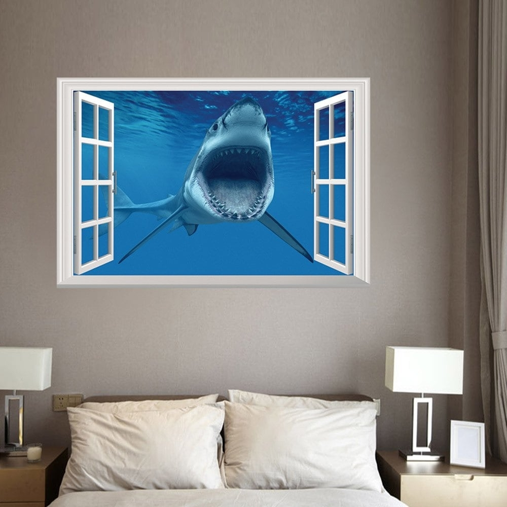 3D Wall Art For Bedrooms In Most Current 2018 Window Shark 3D Wall Art Sticker For Bedrooms Blue  (View 5 of 15)