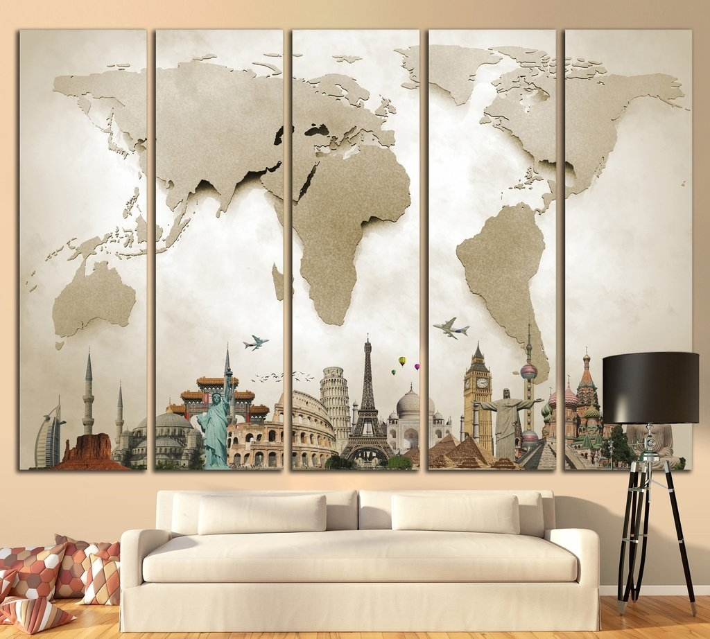 3D Wall Art For Living Room In Famous Large World Map №702 Canvas Print Canvas Print Canvas Print (Gallery 6 of 15)