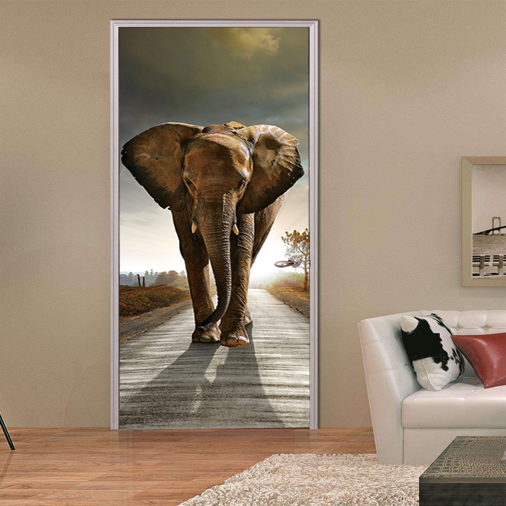 3D Wall Art For Living Room Intended For Preferred 77*200Cm Smooth Door Styling Animal Stickers Elephant 3D Wall Art (View 4 of 15)