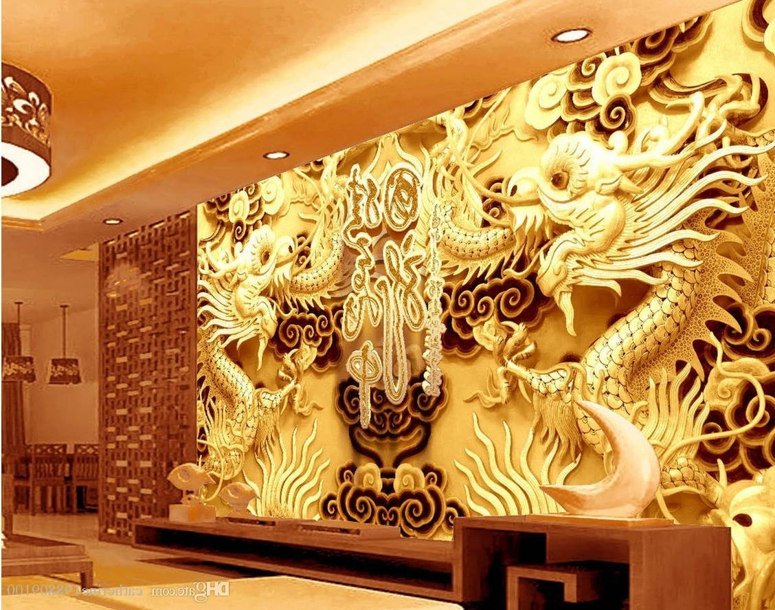 3D Wall Art Wallpaper For Famous Photo Any Size 3D Stereo Golden Dragon Sculpture Living Room (View 2 of 15)