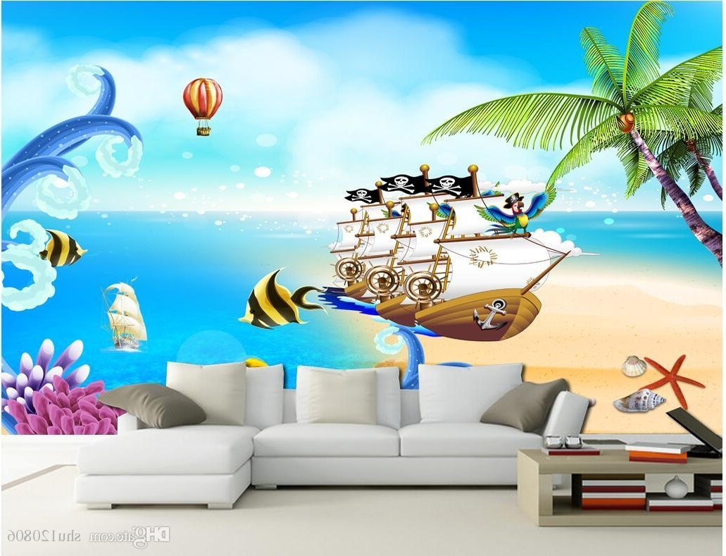 3D Wall Art Wallpaper Regarding Famous 3D Wallpaper Custom Photo Mural Sea View Pirate Ship Children Room (View 3 of 15)