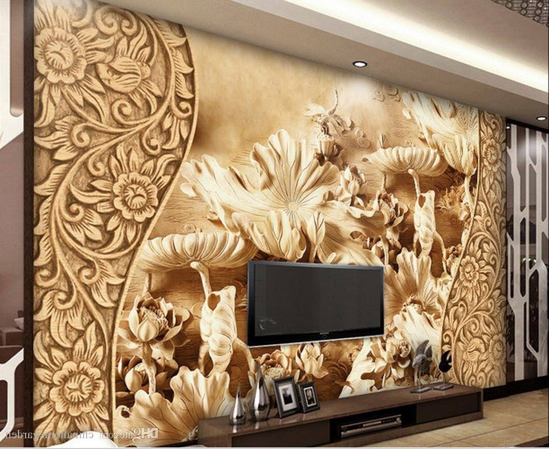 3D Wall Art Wallpaper Regarding Fashionable Chinese Wind Flower Lotus Leaf Wood Carving Tv Background Wall (View 4 of 15)
