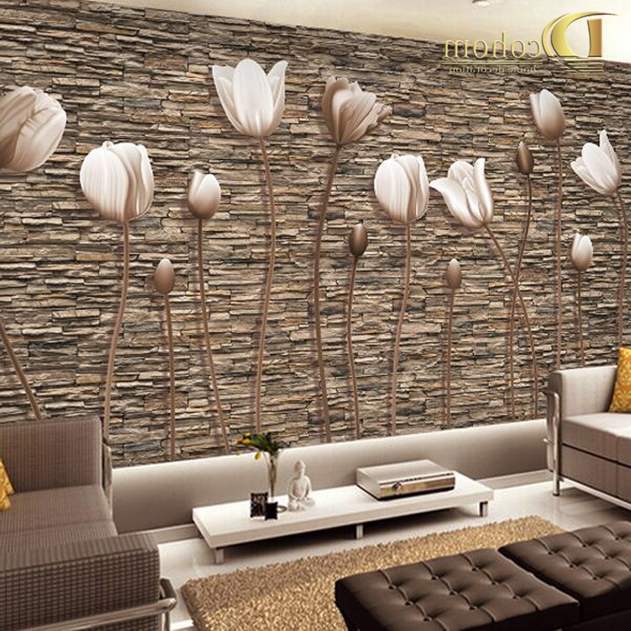 3D Wall Art Wallpaper With Recent Large 3D Wall Murals Photo Wallpaper Flower For Living Room Tv (Gallery 7 of 15)