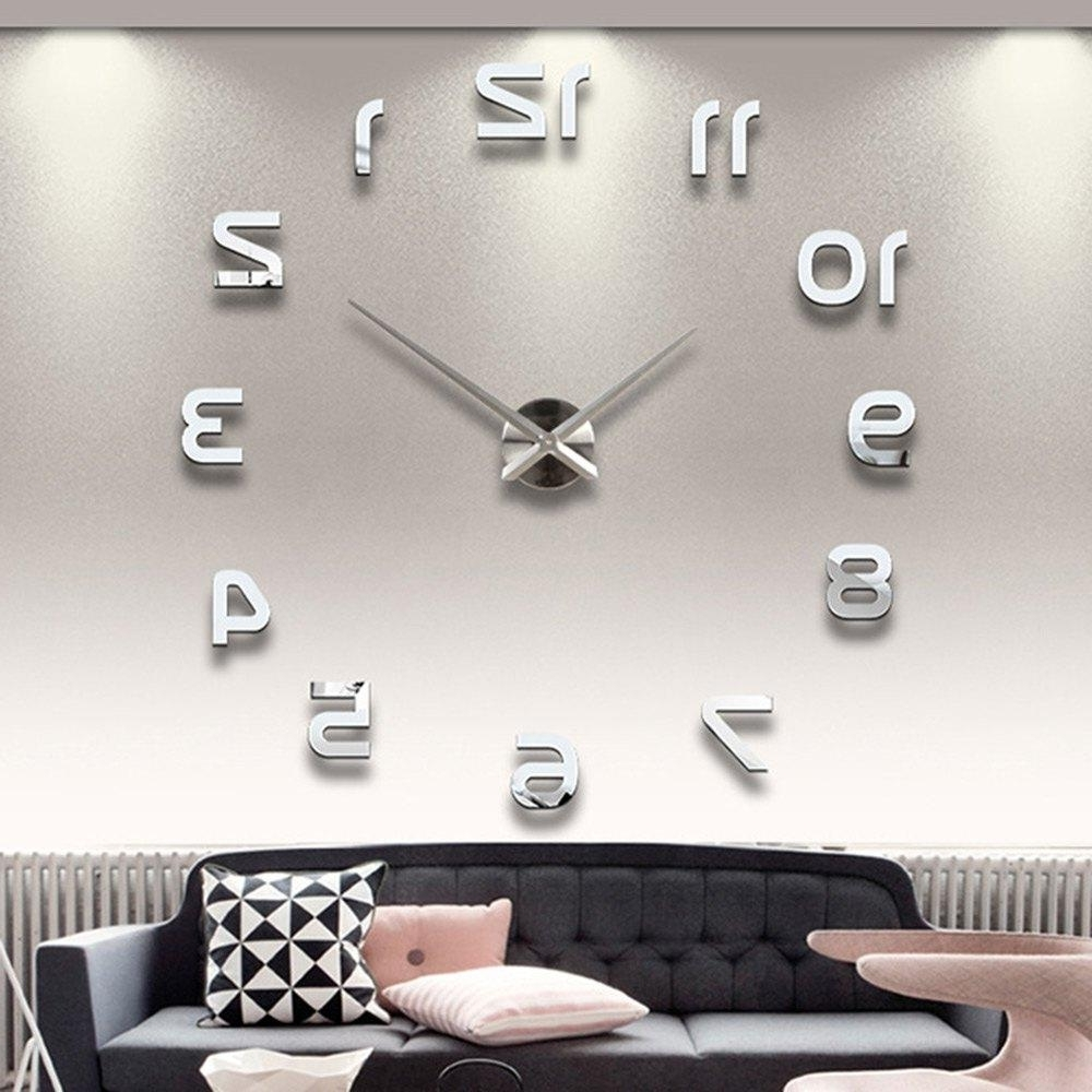 3D Wall Art Wholesale Throughout Current Wholesale Home Decoration Big Number Mirror Wall Clock Modern (View 5 of 15)