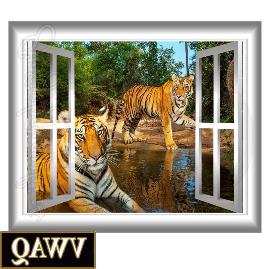 3d Wall Art Window With Favorite 3d Window Wall Decal Tigers Wall Art Window Frame Jungle Scene (View 2 of 15)