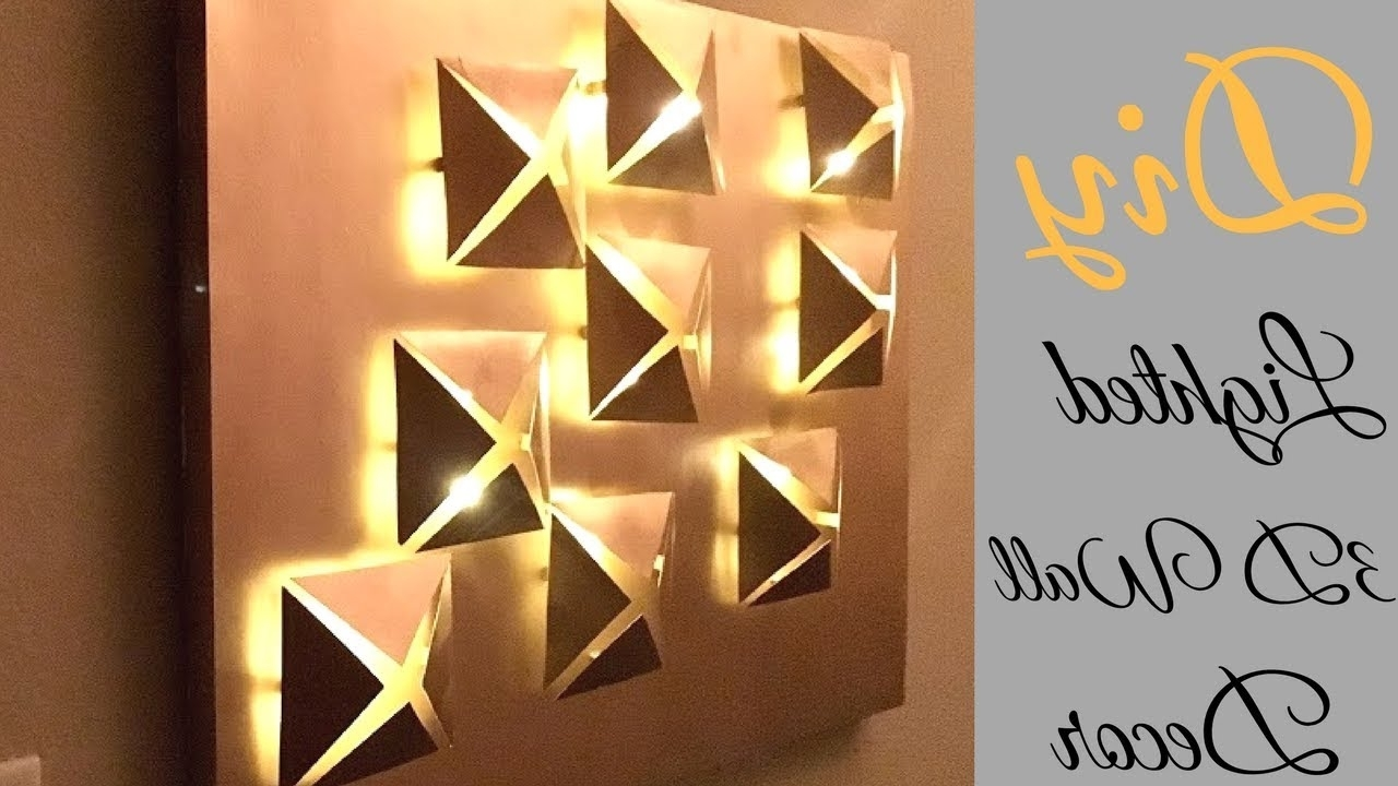 3d Wall Art With Lights For Popular Diy 3d Metallic Wall Decor With Lighting Using Cereal Boxes! – Youtube (View 12 of 15)