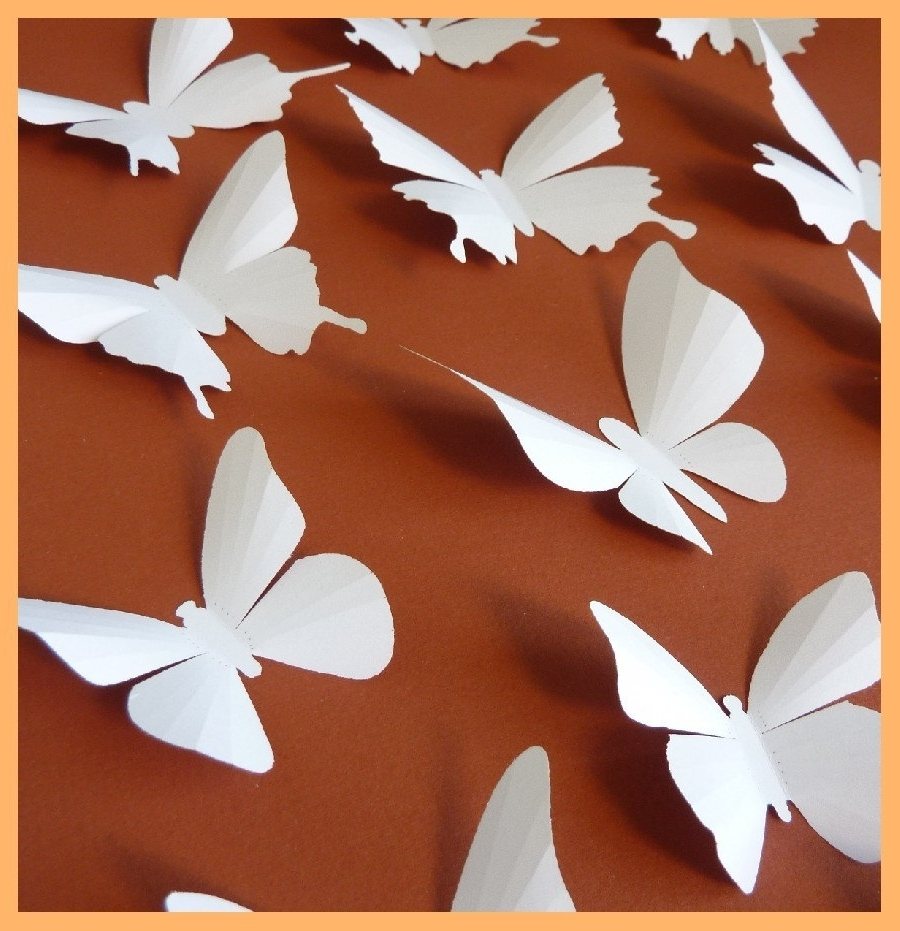 3D Wall Butterflies 40 White Butterfly Silhouettes Nursery Within Famous White 3D Butterfly Wall Art (View 4 of 15)