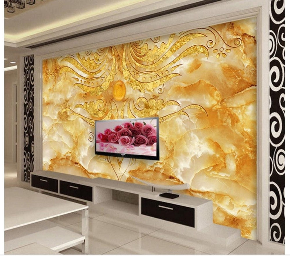 3D Wall Murals Wallpaper Golden Flower Stone Marble Backdrop Wall Throughout Well Known 3D Wall Art Wallpaper (View 6 of 15)