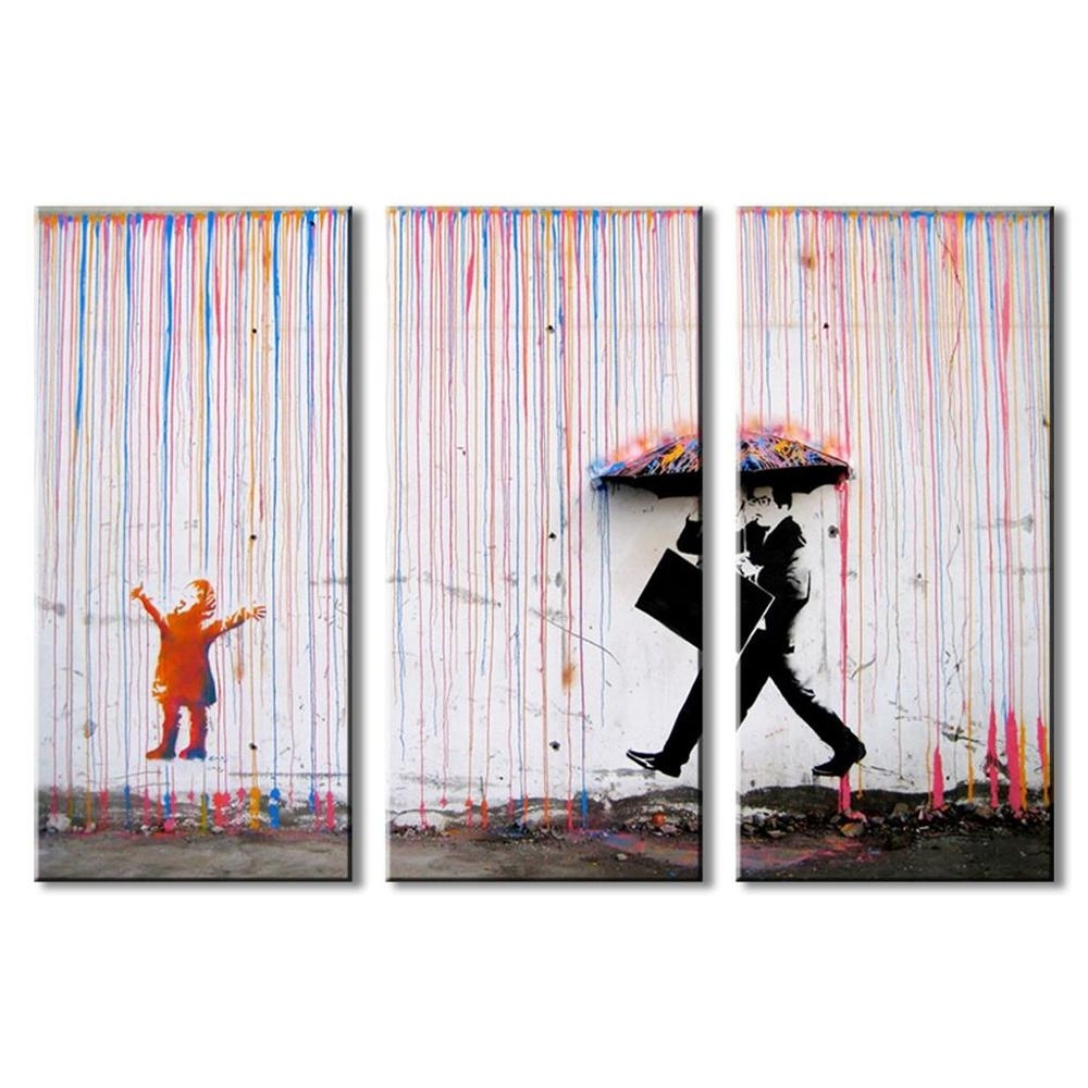 3P Banksy Wall Art Canvas Painting Colorful Rain Wall Pictures For Regarding Preferred Banksy Wall Art Canvas (Gallery 7 of 15)