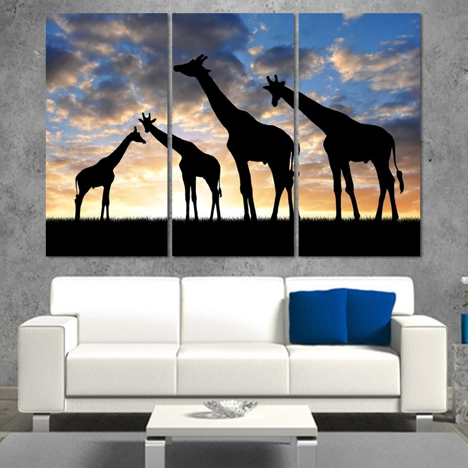 3Pcs /set Abstract African Landscape Animal Giraffe Wall Art Pertaining To Latest Abstract African Wall Art (View 1 of 15)