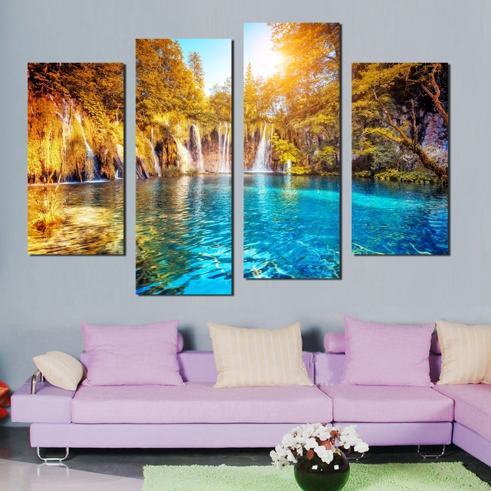 4 Panel Sun Setting Wall Art Waterfall Painting Canvas Landscape For Well Liked Waterfall Wall Art (View 6 of 15)
