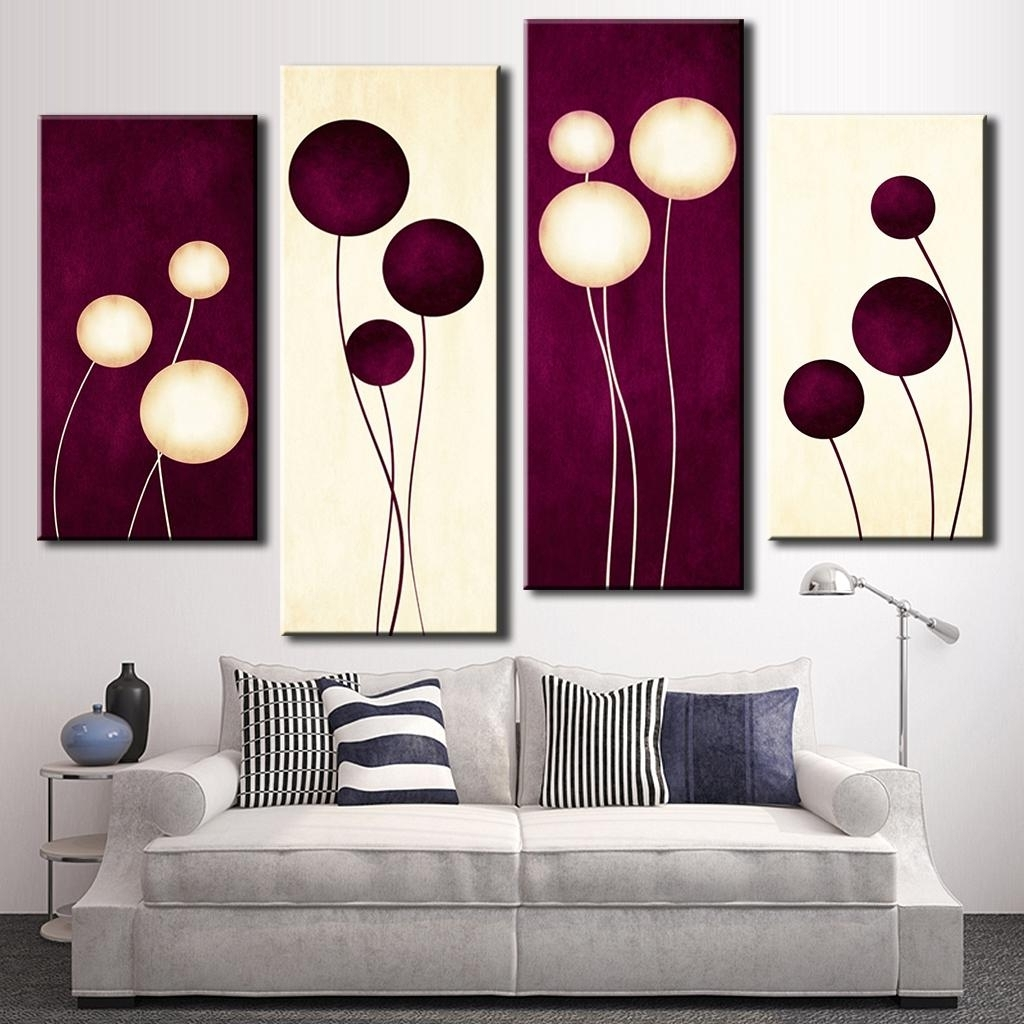 4 Pcs/set Abstract Wall Art Simple Purple White Circles Balloon Intended For Most Recently Released Plum Wall Art (View 8 of 15)