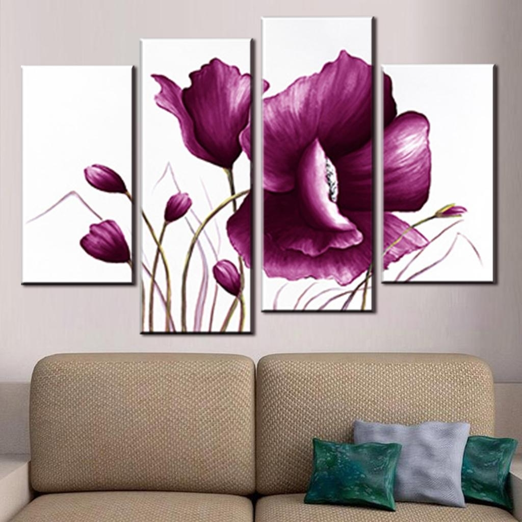 4 Pcs/set Canvas Wall Art Picture Combined Flower Paintings Plum For Most Recently Released Plum Wall Art (View 2 of 15)