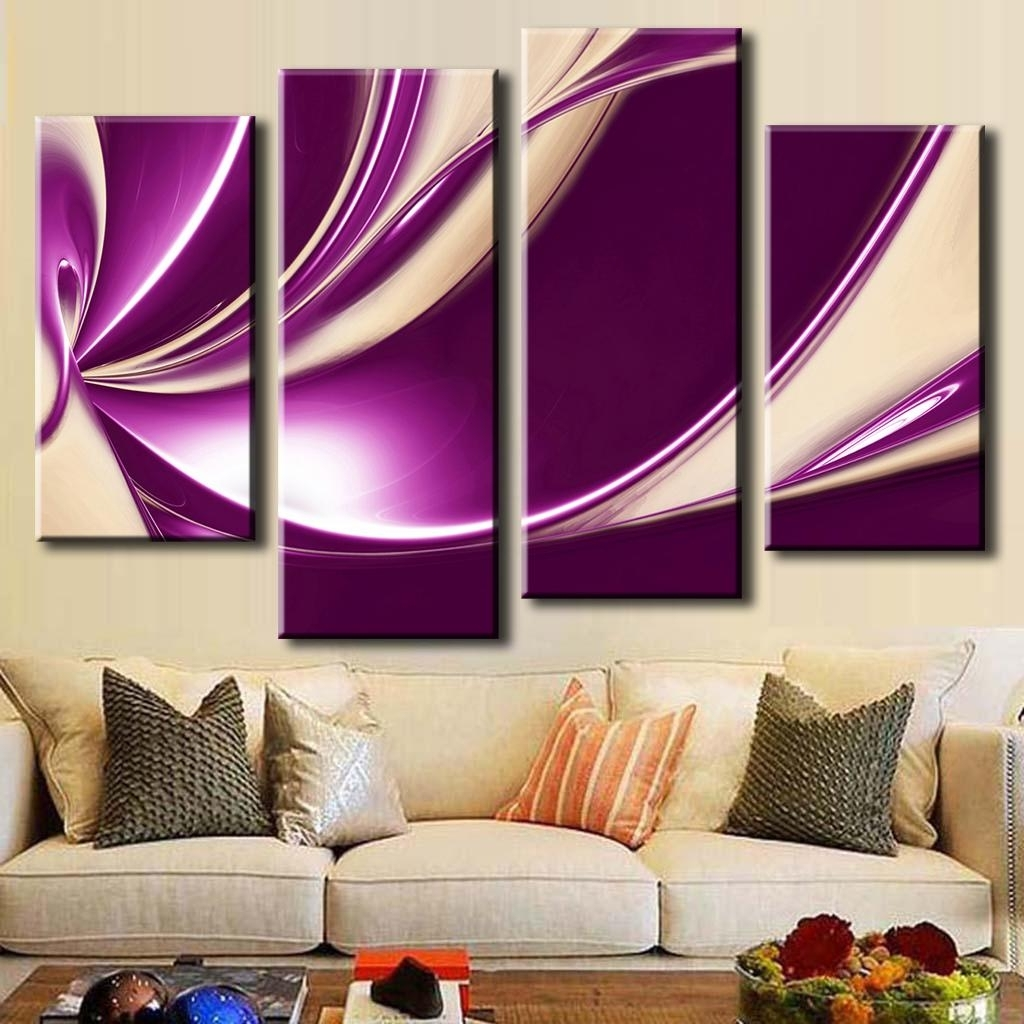 4 Pcs/set Modern Abstract Oil Painting Combined Canvas Wall Art Throughout Preferred Plum Wall Art (View 11 of 15)