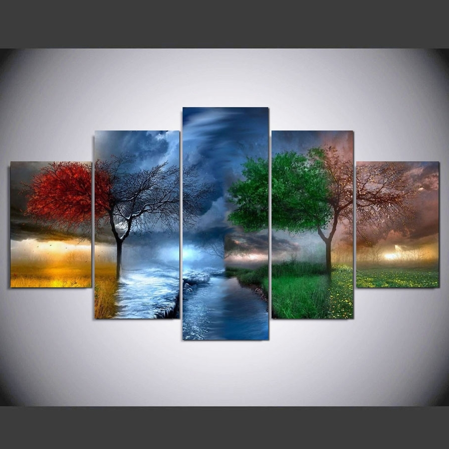 4 Piece Wall Art In Trendy Wall Art Canvas Modular Pictures Living Room Decor 5 Pieces & Showing Gallery of 4 Piece Wall Art (View 8 of 15 Photos)