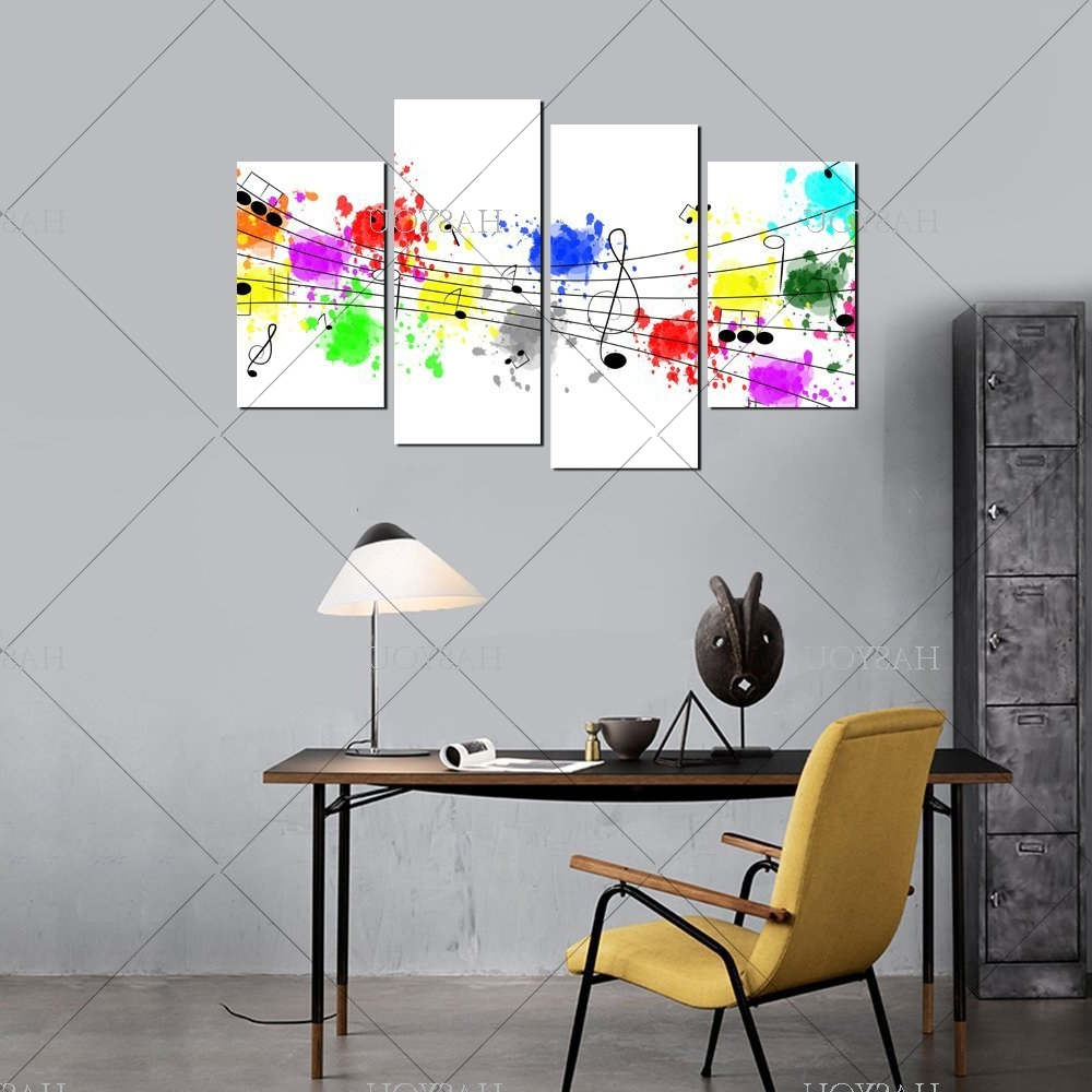 4 Pieces Still Life Pictures Handpainted Canvas Abstract Music With Regard To 2017 Abstract Music Wall Art (View 2 of 15)