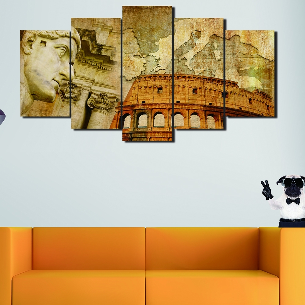 5 Panels Italian Colosseum Map Abstract Oil Painting Printed Print For Most Recent Modern Italian Wall Art (View 2 of 15)