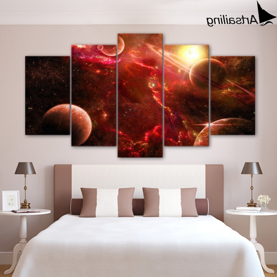 5 Piece Canvas Art Outer Space Planets Stars Canvas Painting Pertaining To Popular Outer Space Wall Art (Gallery 13 of 15)