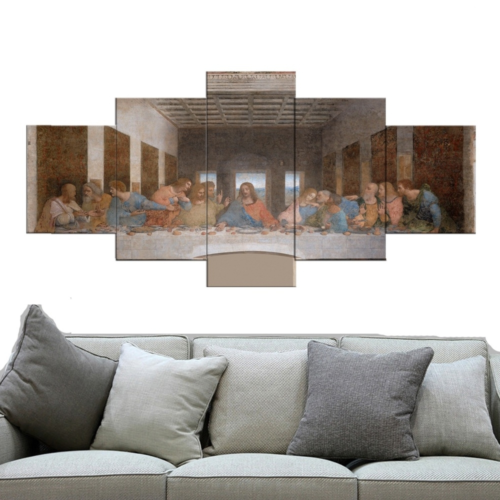 5 Piece Christian The Last Supper Jesus Christ Canvas Print Wall With Well Liked Christian Wall Art Canvas (View 1 of 15)