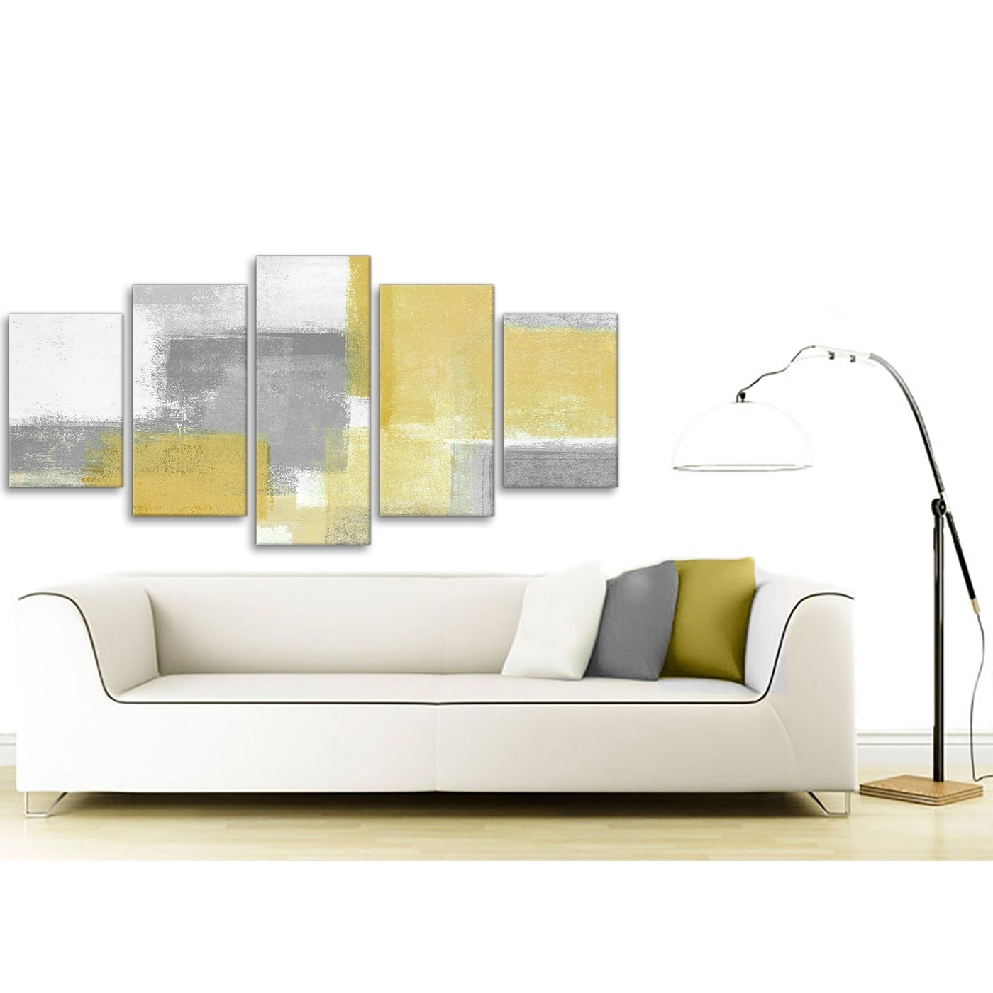 5 Piece Mustard Yellow Grey Abstract Living Room Canvas Wall Art With Well Known Yellow And Grey Abstract Wall Art (View 9 of 15)