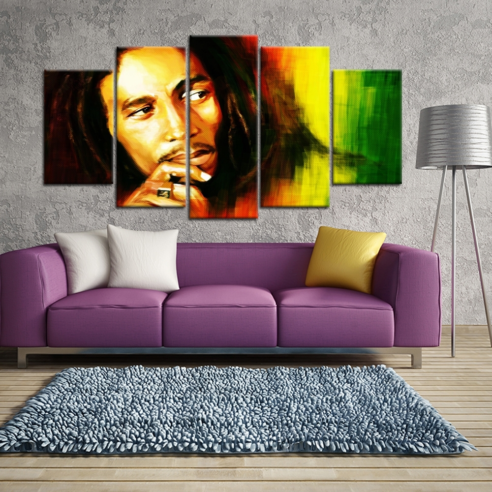 5 Pieces Hd Printed Bob Marley Canvas Painting Wall Art Picture With Most Popular Bob Marley Canvas Wall Art (View 3 of 15)