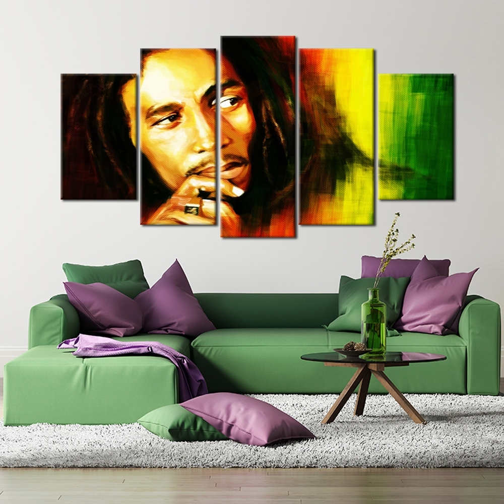 5 Pieces Hd Printed Bob Marley Canvas Painting Wall Art Picture With Regard To 2017 Bob Marley Canvas Wall Art (View 4 of 15)
