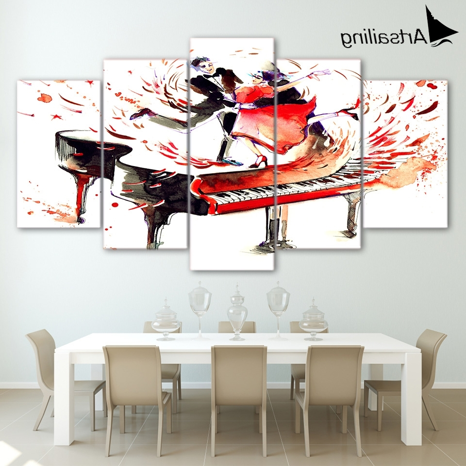 5 Piecs Canvas Art Abstract Piano Canvas Painting Hd Printed Within Most Popular Abstract Piano Wall Art (View 3 of 15)