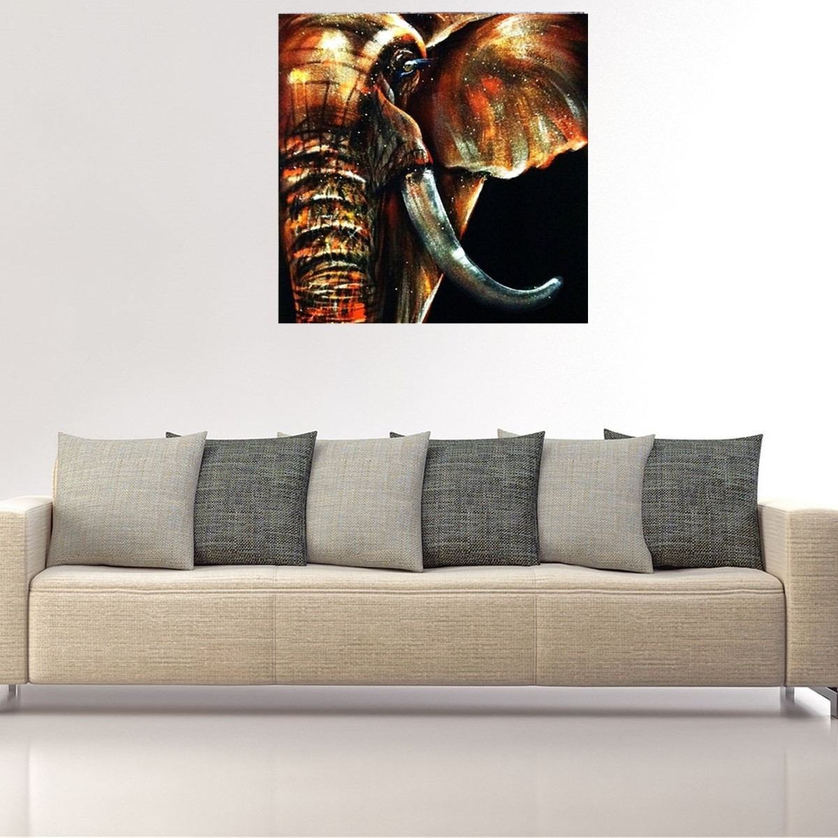 50X50Cm Modern Abstract Huge Elephant Wall Art Decor Oil Painting Regarding Fashionable Abstract Elephant Wall Art (View 3 of 15)