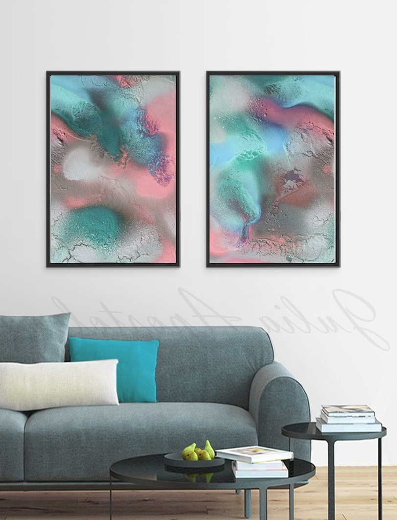 56X42Inch, Pastel Abstract Art, Diptych Painting, Turquoise And Intended For Most Recent Pastel Abstract Wall Art (Gallery 5 of 15)