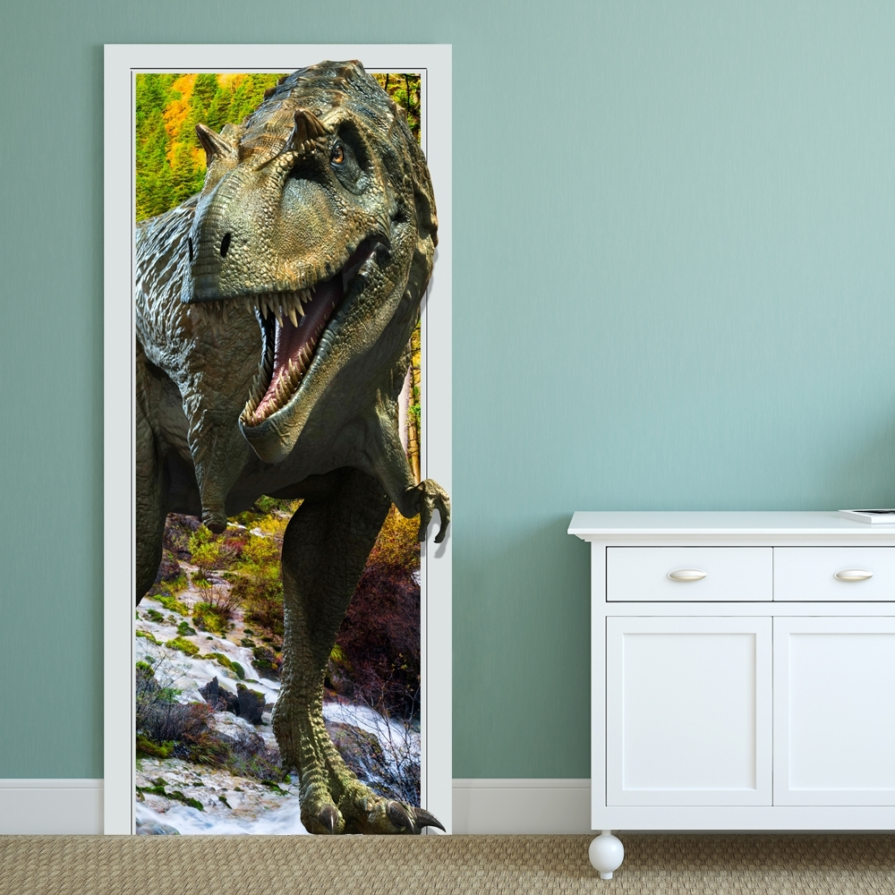 88X200Cm Pag Imitative Door 3D Wall Sticker Fiery Dragon Pertaining To 2017 Dinosaurs 3D Wall Art (Gallery 12 of 15)