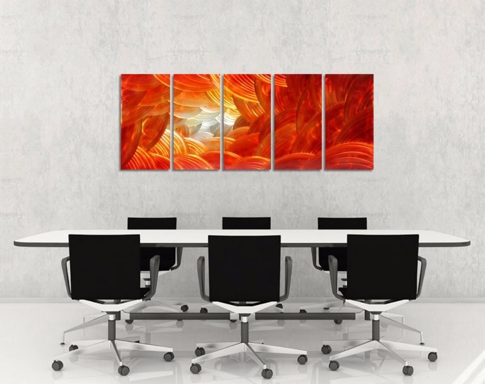 Abstract Aluminium Wall Art Regarding Newest Original Red Abstract Aluminum Wall Art Metal Painting Colorful (View 3 of 15)