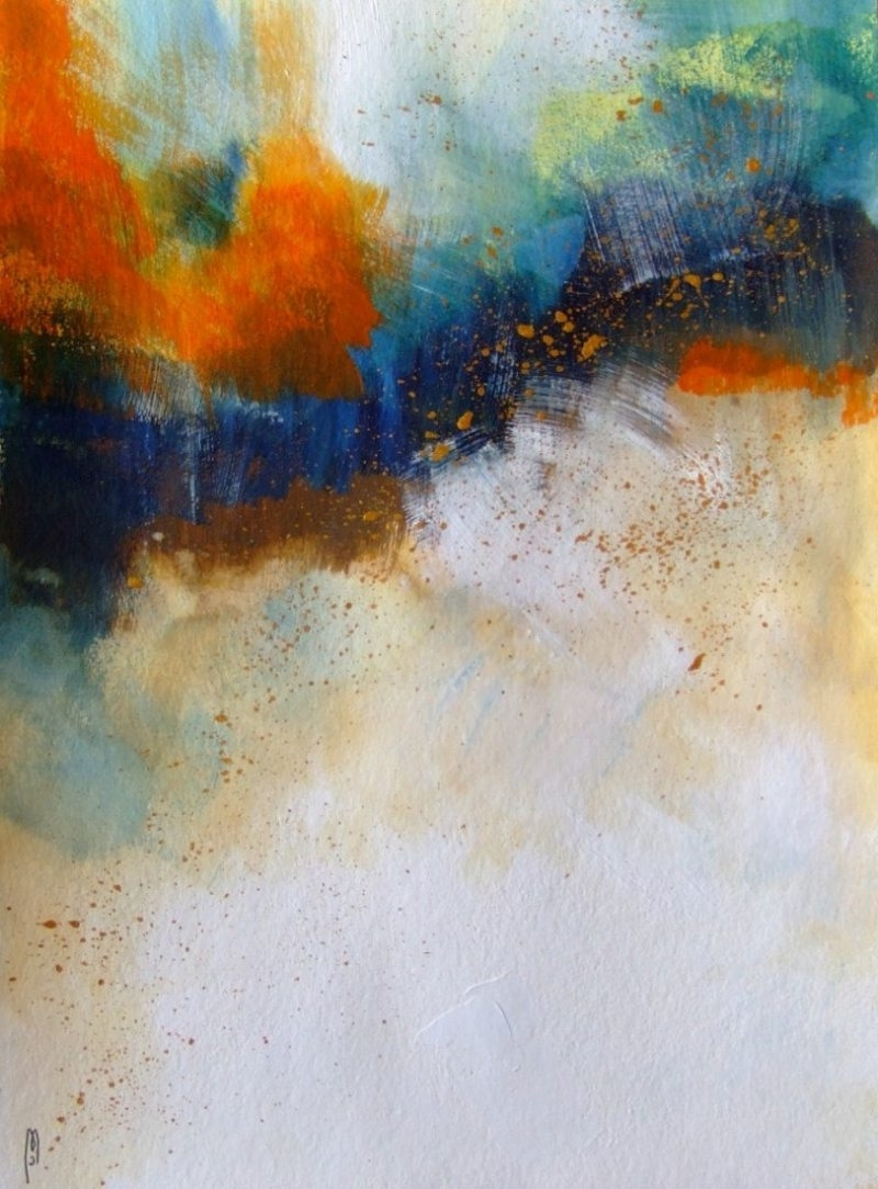 Abstract Art Abstract Landscape Abstract Painting Abstract Drawing Regarding Favorite Orange And Blue Wall Art (View 2 of 15)