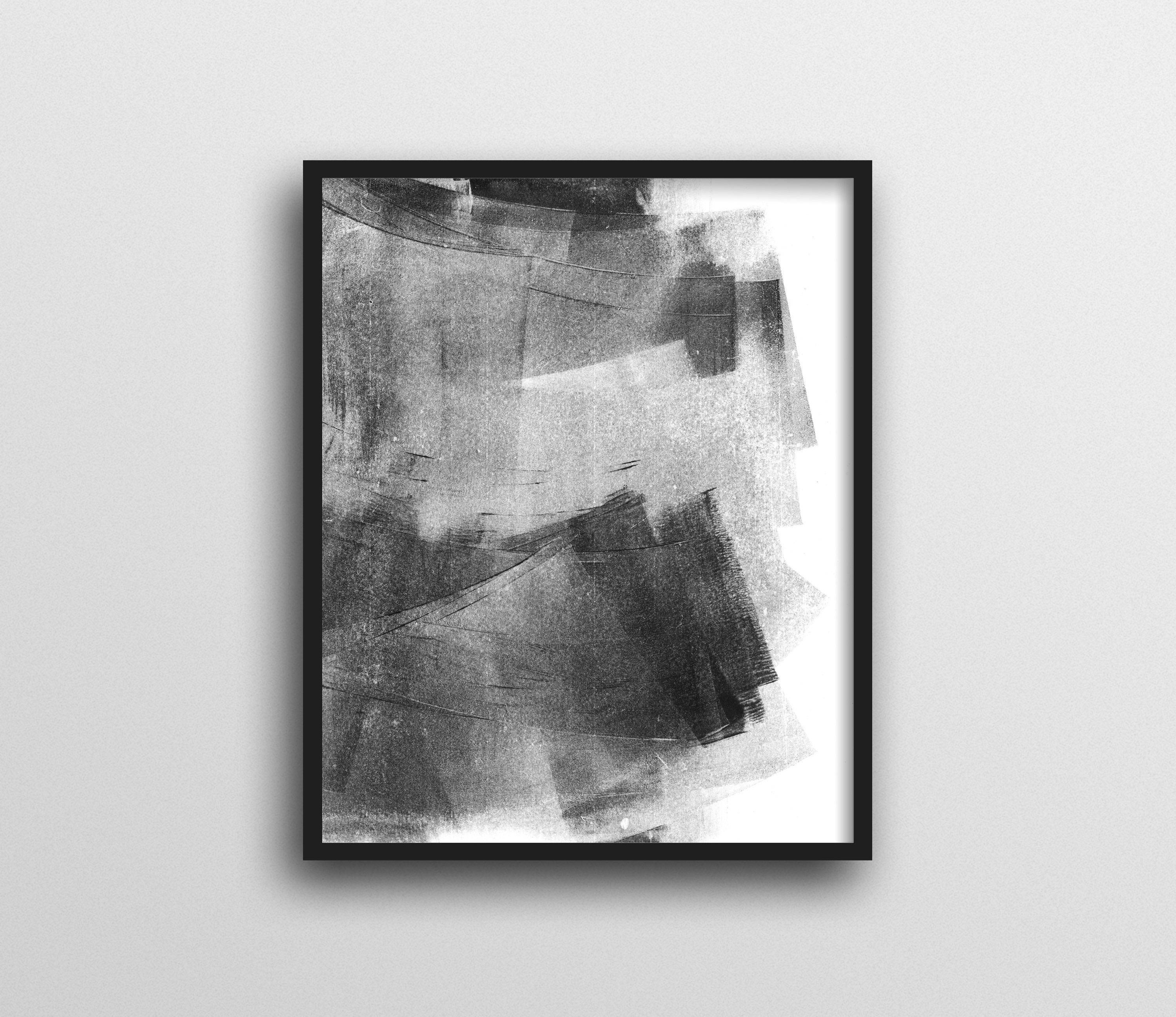 Abstract Art, Black And White Wall Art, Minimalist Painting, Black For Widely Used Black And White Abstract Wall Art (View 12 of 15)