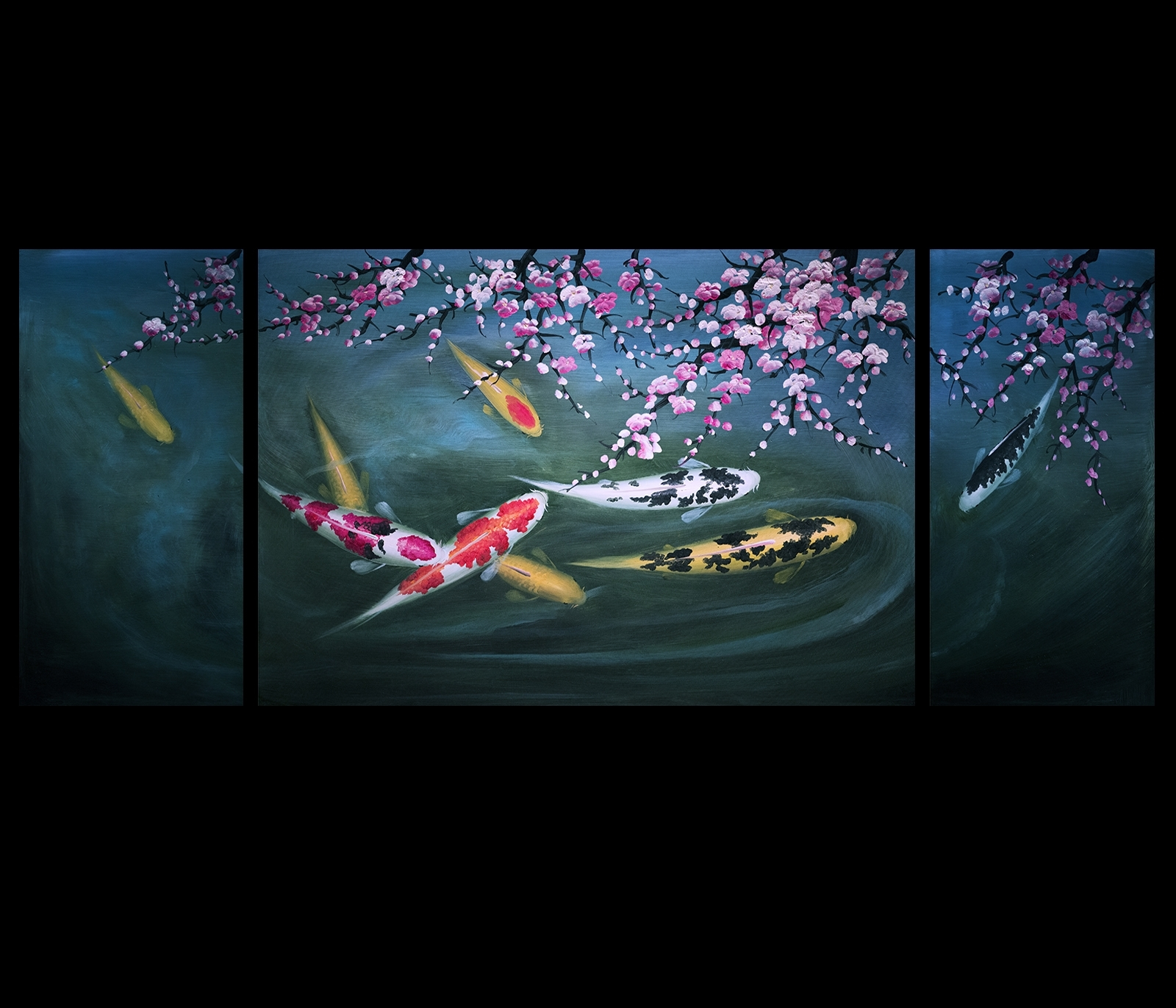 Abstract Art Koi Fish Painting Chinese Feng Shui Art Koi Painting Inside Newest Abstract Fish Wall Art (View 4 of 15)
