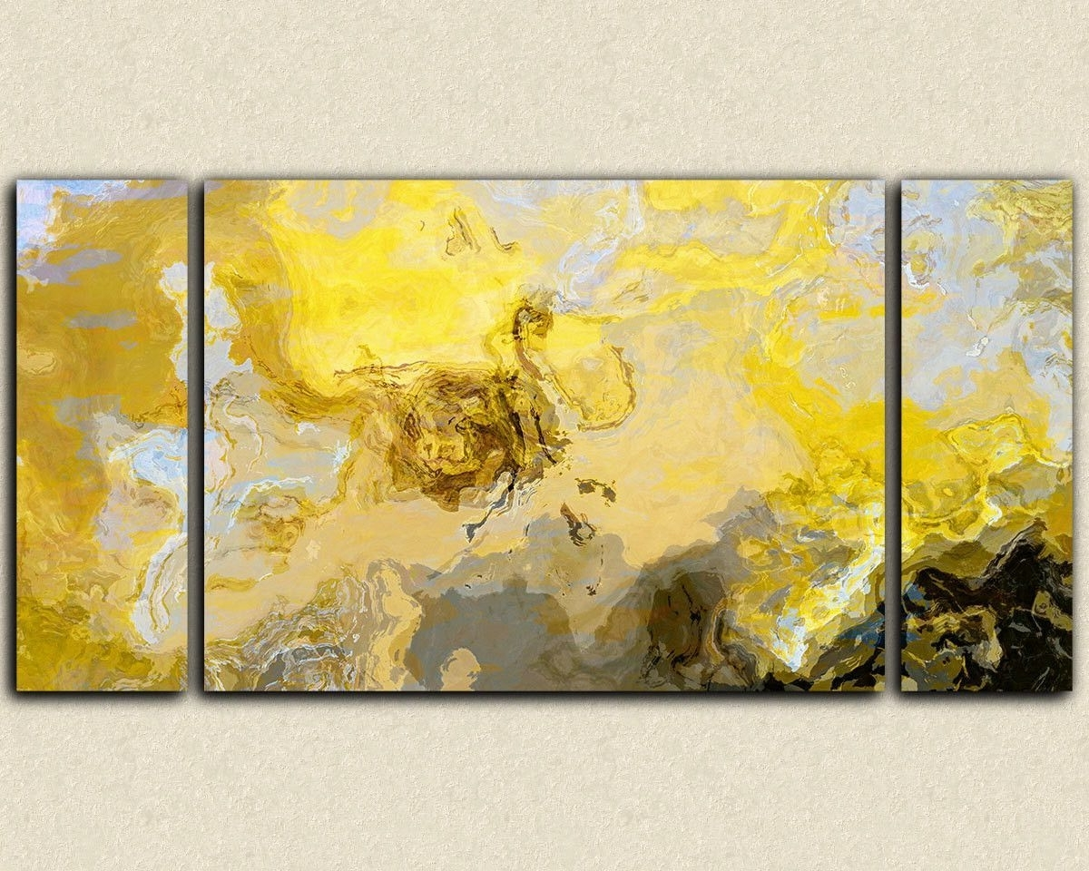 Abstract Art Print Triptych Oversize Canvas Print, In Yellow, Gray For Most Popular Gray Abstract Wall Art (View 1 of 15)