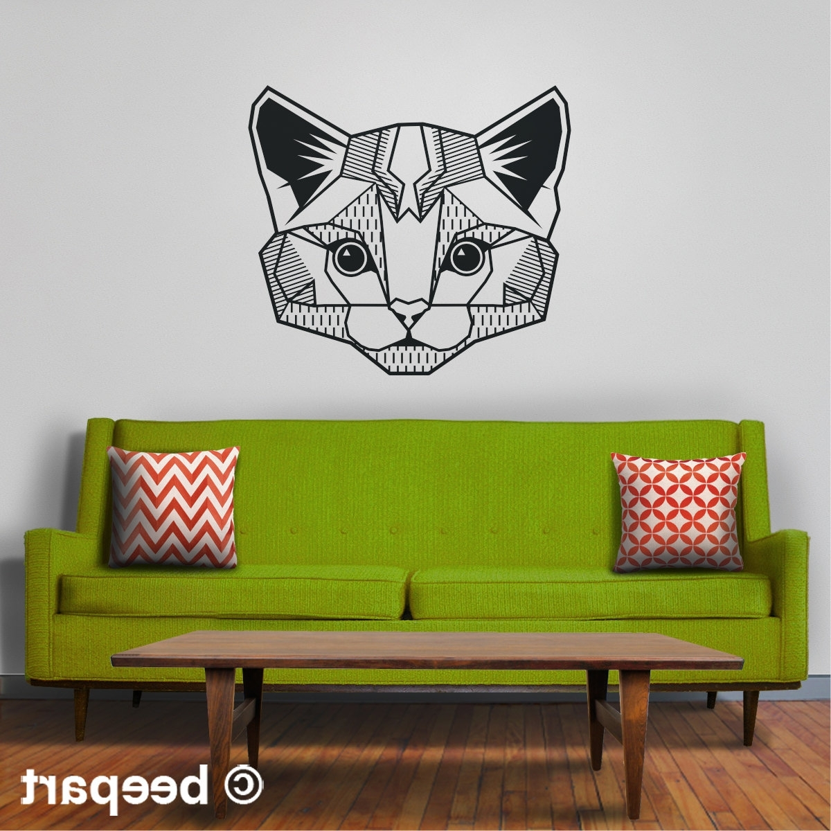 Abstract Art Wall Decal Inside Preferred Cat Wall Decal, Geometric Cat Art, Abstract Feline Wall Sticker (View 2 of 15)