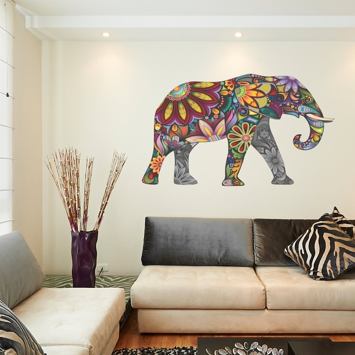 Abstract Art Wall Decal With Regard To Popular Abstract Elephant Full Colour Wall Sticker Wall Decal Wall Art (View 10 of 15)