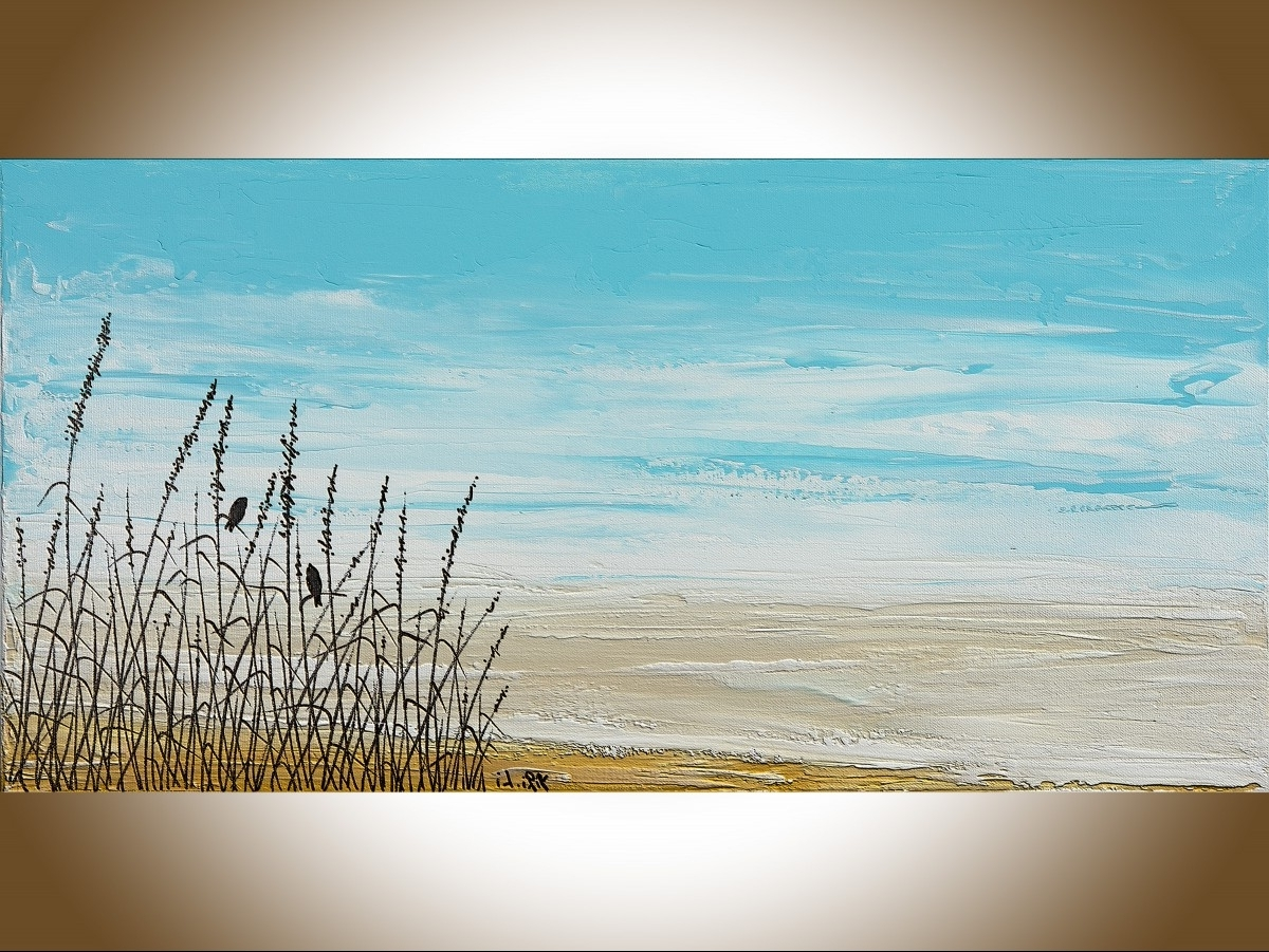 "Abstract Beach Wall Art In Newest Life On Beachqiqigallery 24"" X 12"" Birds Art Abstract (View 7 of 15)"