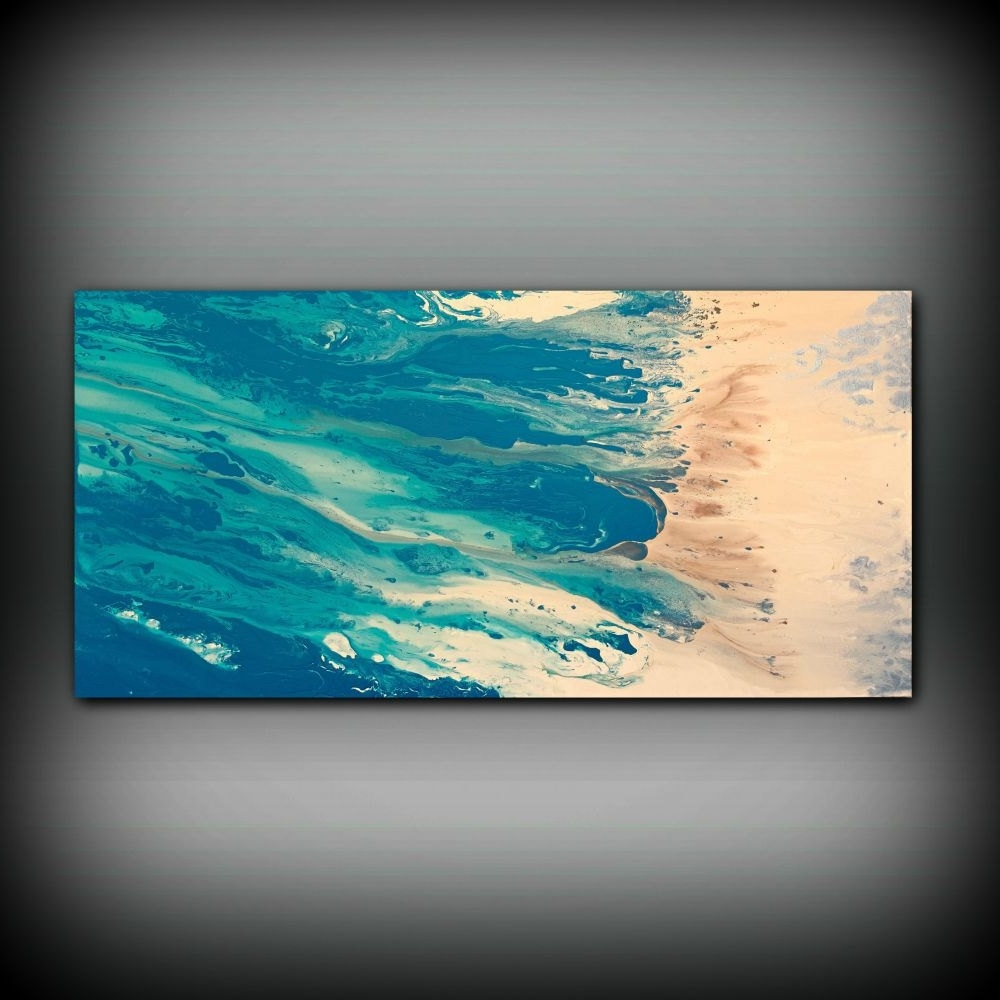 Abstract Beach Wall Art Within Most Current Beach Coastal Painting 24 X 48, Acrylic Painting On Canvas (View 9 of 15)