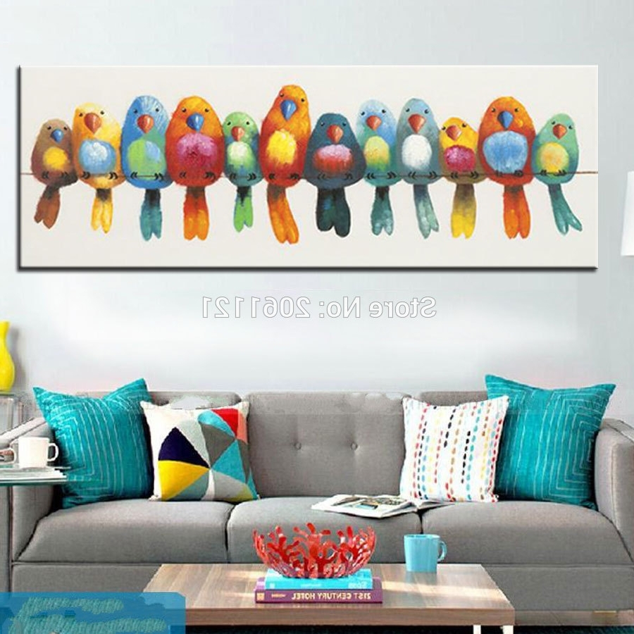 Abstract Bird Wall Art For Trendy Funny Hand Painted Canvas Oil Painting Colorful Birds Canvas Art (View 2 of 15)