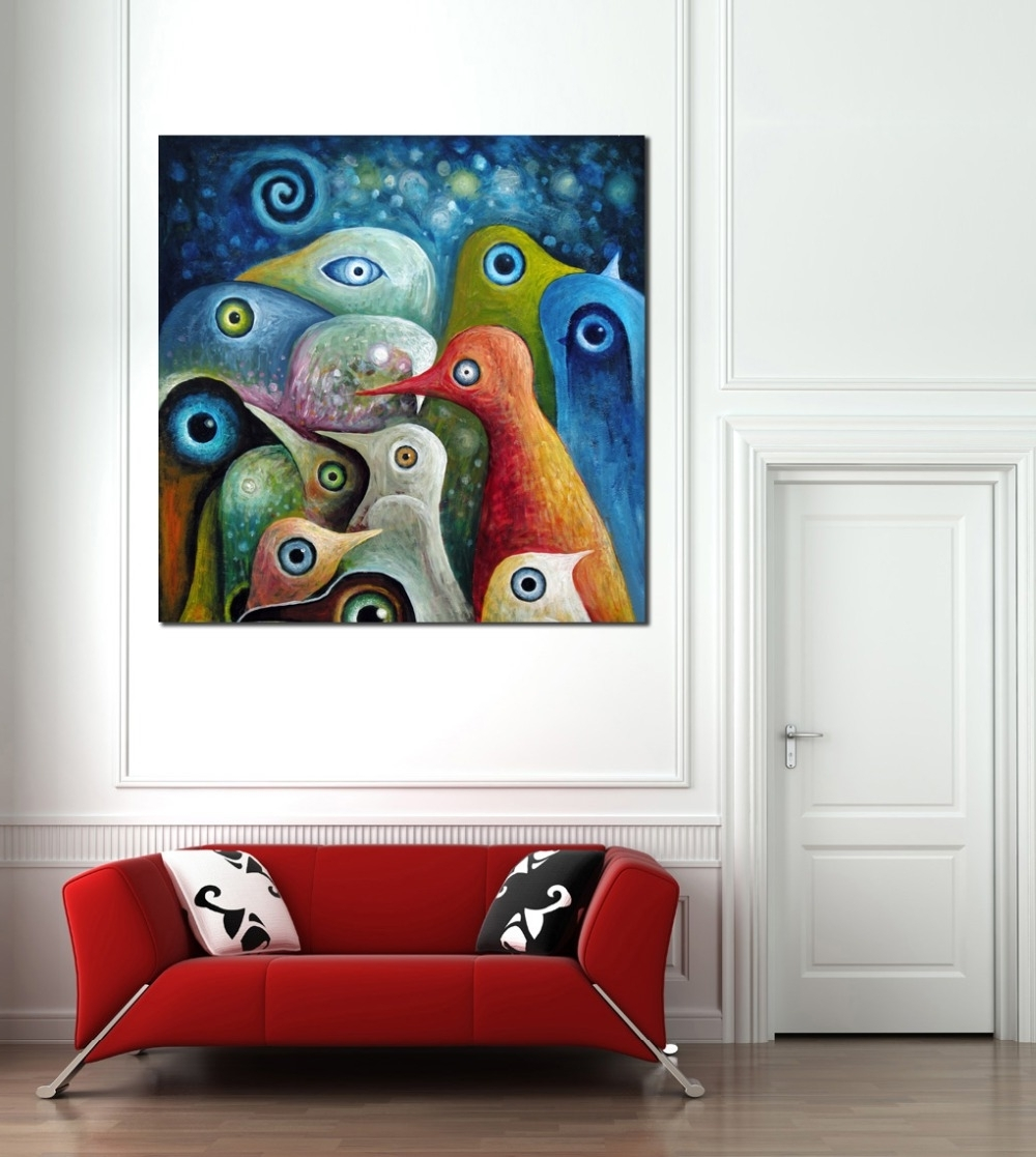 Abstract Bird Wall Art Pertaining To Most Recently Released Multi Color Abstract Birds Painting Canvas Print Picture Modern (View 4 of 15)