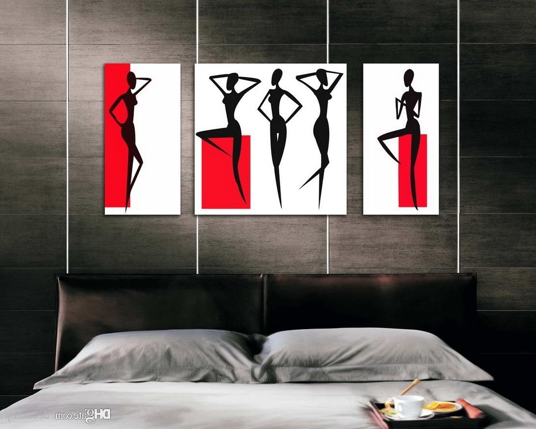 Abstract Body Wall Art In Current Modern Abstract Girl Body Curve Painting Giclee Print On Canvas (View 2 of 15)