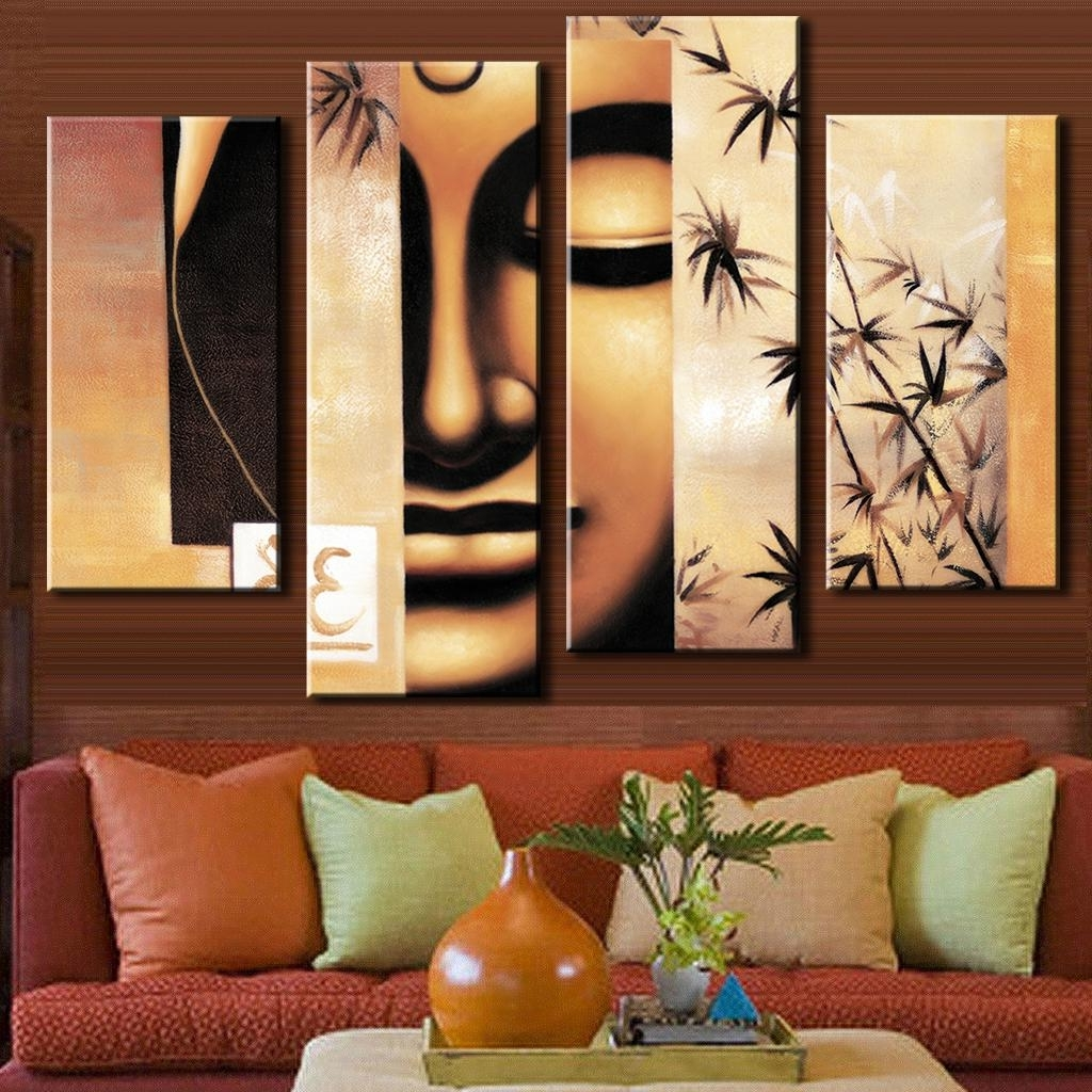 Abstract Buddha Wall Art For Most Recent 4 Pcs/set Retro Figure Painting Prints On Canvas Holy Abstract (View 4 of 15)