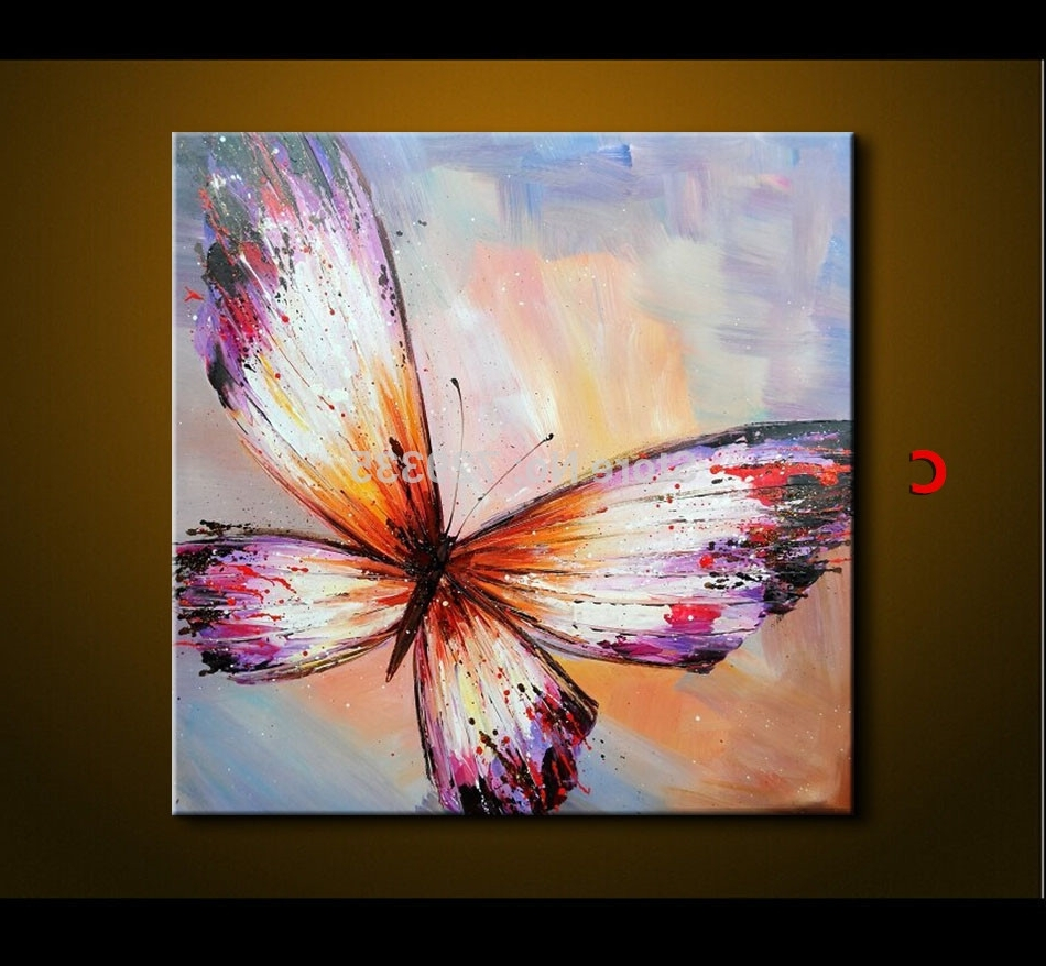 Abstract Butterfly Wall Art With Regard To Most Current Abstract Oil Painting On Canvas Palette Knife Colorful Butterfly (View 6 of 15)