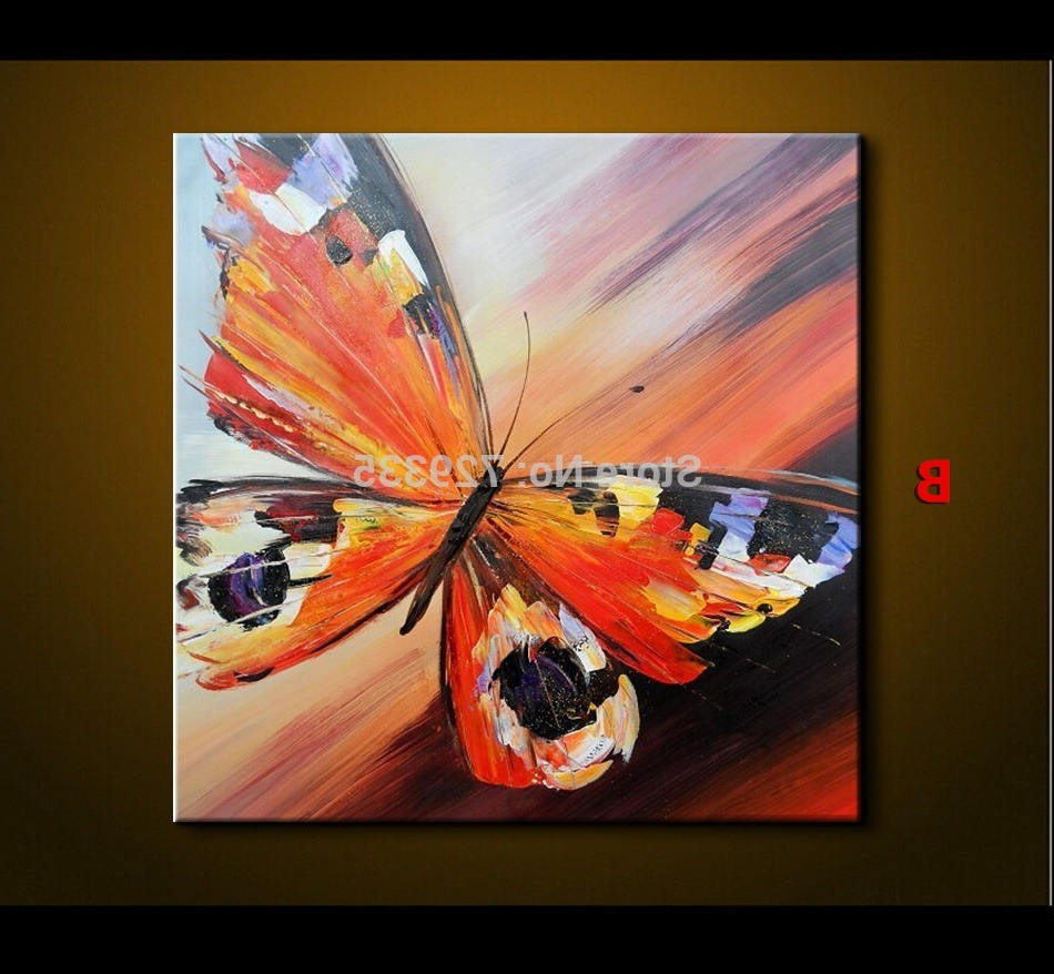 Abstract Butterfly Wall Art With Well Known Abstract Oil Painting On Canvas Palette Knife Colorful Butterfly (View 2 of 15)