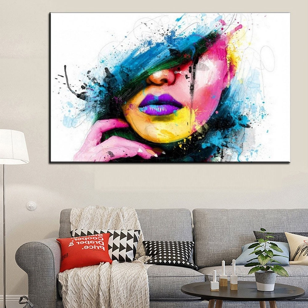 Abstract Canvas Wall Art In Famous Modern Abstract Canvas Wall Art Painted Oil Painting Of A Woman's (View 5 of 15)