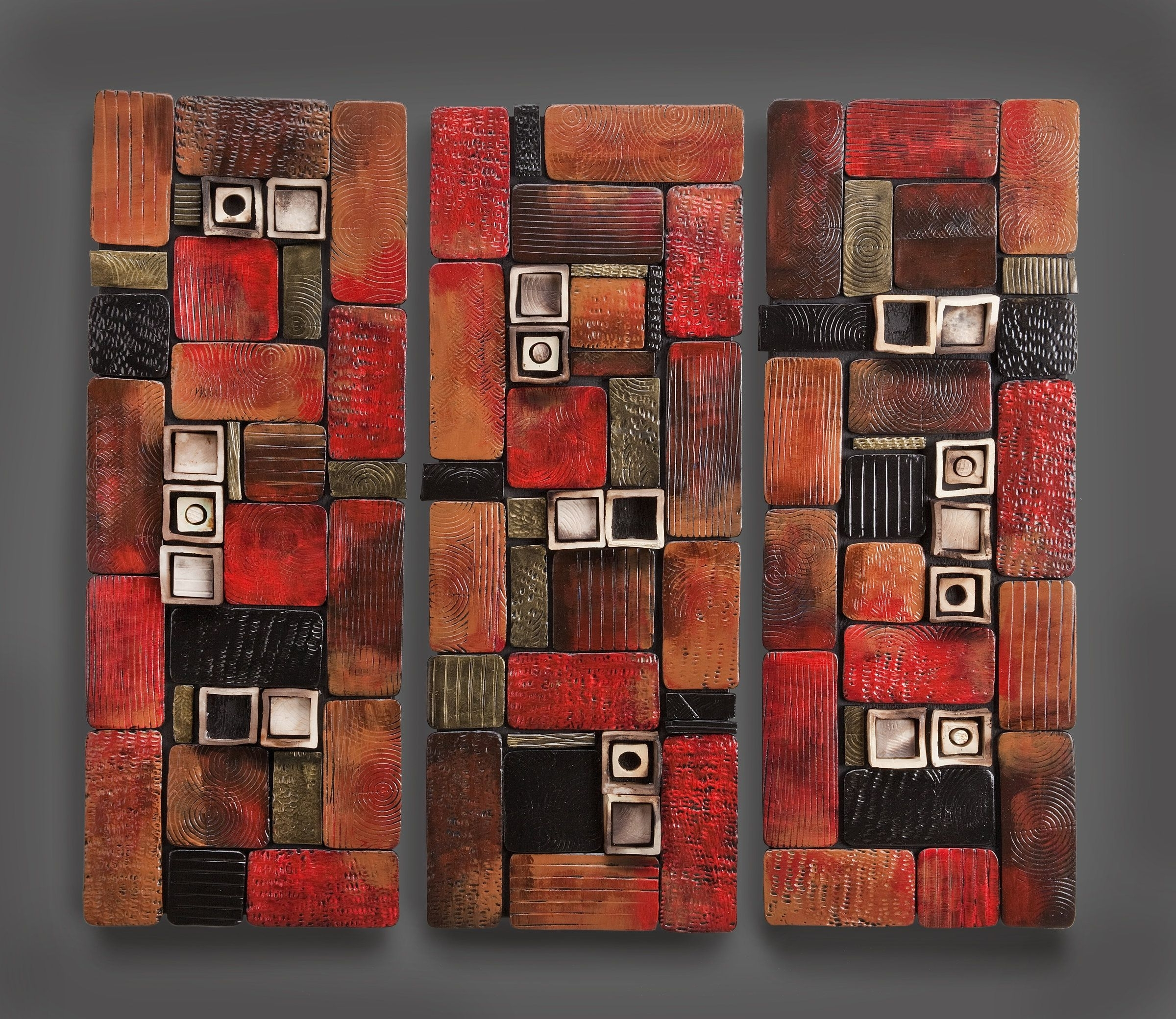 Abstract Ceramic Wall Art With Regard To Preferred Hidden Treasure Panel Triptychrhonda Cearlock (Ceramic Wall (Gallery 14 of 15)